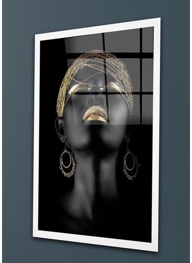 Chic Life Chic Life Afrikalı Zenci Kadın Cam Tablo Renkli